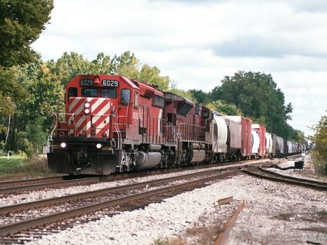 CP 6029 leads a westbound train through Milan, MI on NS.  2008  [Nathan Nietering photo]